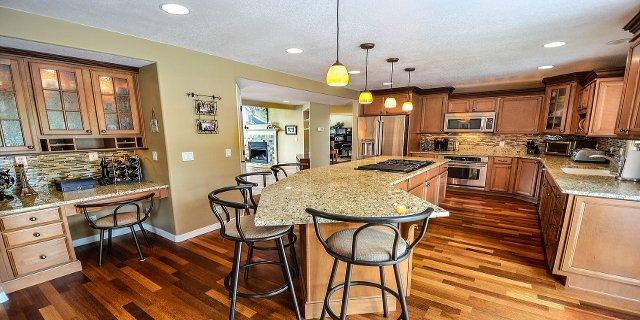 kuchyň, kuchyňský ostrůvek, vaření, nábytek